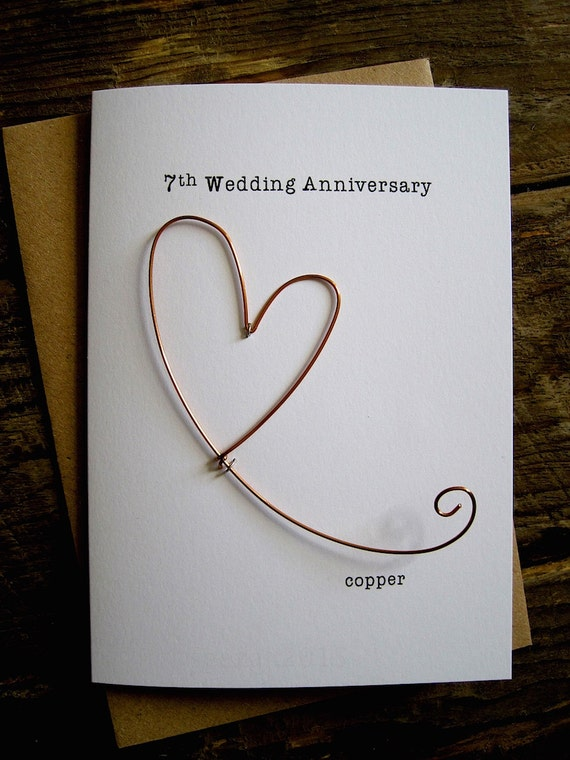 8th Wedding Anniversary Designer Keepsake Card COPPER Wire Heart 8 Years  Traditional Gift. Husband Wife Understated Size A8: 8x8.8cm
