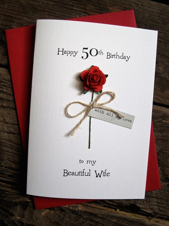PERSONALISED 50th BIRTHDAY CARD FOR WOMEN Mum Daughter Wife Handmade Gift boxed
