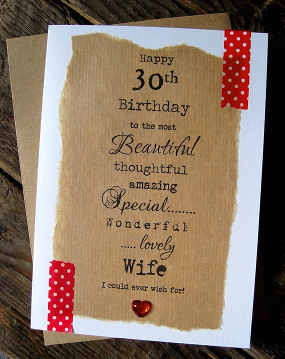 Larger 30th 40th 50th Birthday Card Wife Beautiful Etsy
