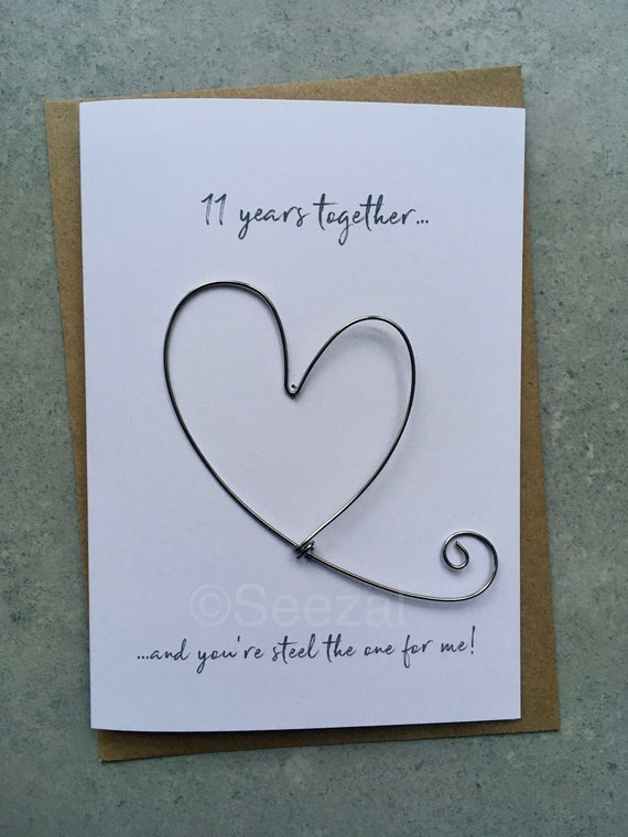 248867d493514 11th Wedding Anniversary Keepsake Card STEEL the one for me