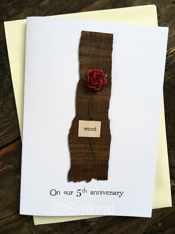5e Anniversaire Carte Bois Traditionnel Cadeau De Mariage Pour 5 Ans Souvenir à La Main Femme Mari Cinquième Cadeau De 5 Ans Cadeau Personnalisé