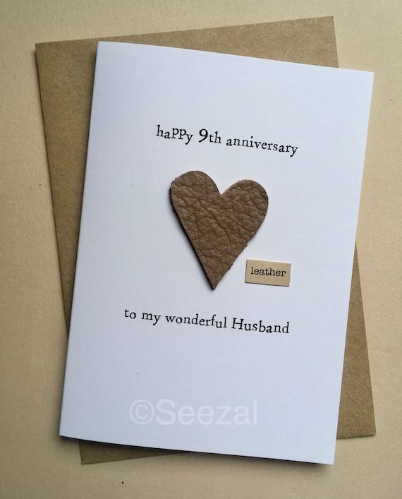 9th Year Wedding Anniversary Gift: 9th Wedding Anniversary Card HUSBAND Modern US Gift