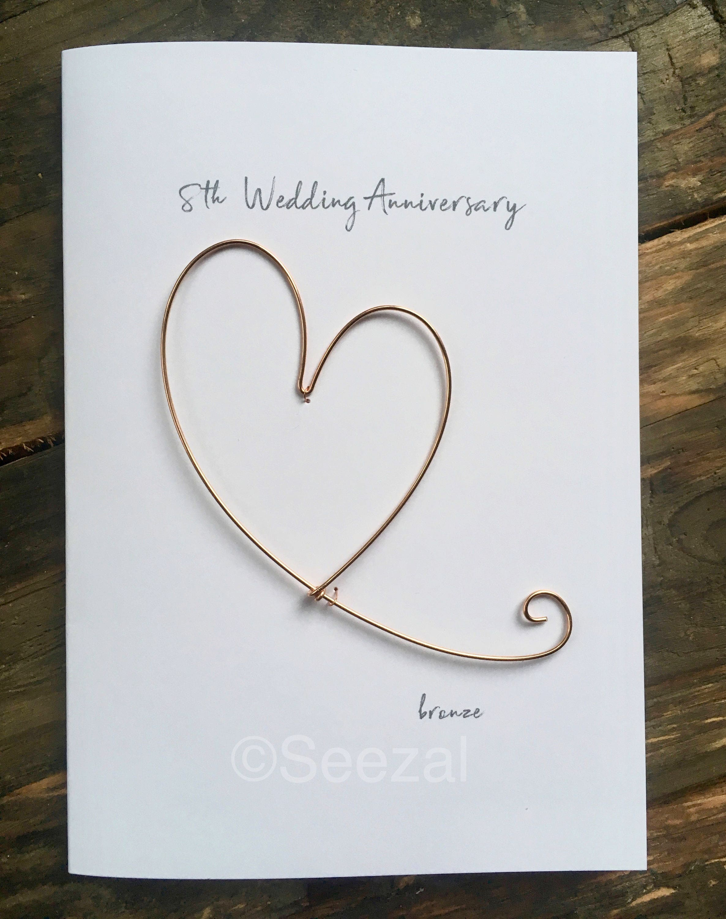 8th Wedding Anniversary.8th Wedding Anniversary Keepsake Minimalist Art Card Bronze Wire Heart 8 Years Traditional Gift Husband Wife Size A6 15x10 5cm