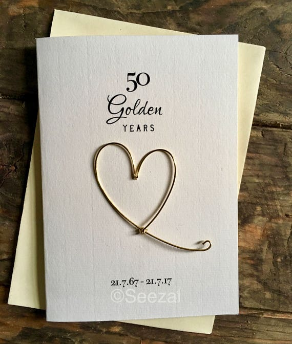 50th golden wedding anniversary card real gold plated wire etsy