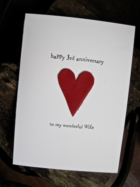 3eme Mariage Anniversaire Carte Cuir Traditionnel Cadeau Souvenir Fait Main Femme Mari De Trois Ans En Cuir Rouge Taille A6