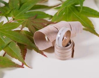 Polymer, Oak & Sterling Silver Bentwood Ring