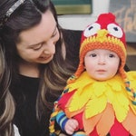 Baby Rooster Halloween Costume Baby Rooster Bodysuit and Crochet Rooster Hat Colorful Baby Rooster Costume Baby Chicken Costume