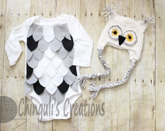 Baby Owl Costume Crochet Owl Hat Baby Owl Bodysuit White Owl hat and Bodysuit set White Gray Yellow and Black Owl Hat and bodysuit costume