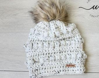 Winter Kids Hat Bobble Hat Crochet beanie for Babies and Kids Fur Pom Pom Beanie Soft Winter Beanie