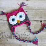 Crochet Owl Hat, Baby Hot Pink Gray Owl Beanie Girls Owl Hot Pink Gray Turquoise Owl Hat