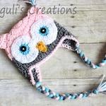 Crochet Owl Hat, Baby Hot Pink Gray Owl Beanie Girls Owl Hot Pink Gray Turquoise Owl Hat Baby Pink Owl Hat Baby Owl Beanie Photo Props