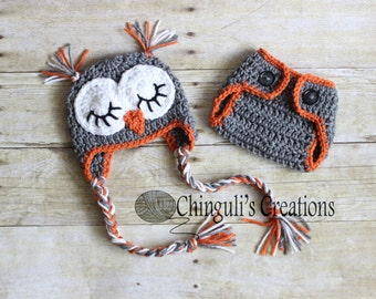 Baby Owl Outfit Crochet Sleepy Owl Baby Hat and Matching Diaper Cover Set Crochet  Owl Hat Newborn Owl Outfit Crochet Owl Outfit 64424e29535