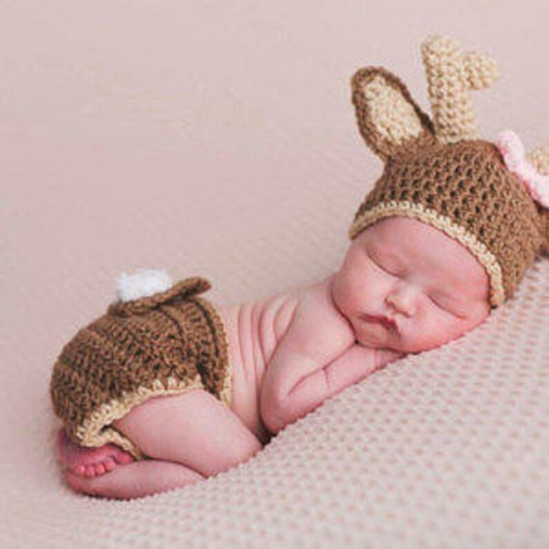 4.50Baby Deer Hat with Diaper Cover Crochet Deer hat and image 0