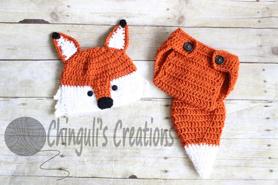 Crochet Fox Outfit Baby Girl Baby Boy Fox Hat and Diaper Cover  9881c13a6b2