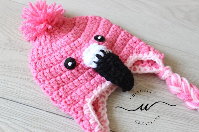 Bambino fenicottero uncinetto cappello rosa fenicottero  7ac55975b23d
