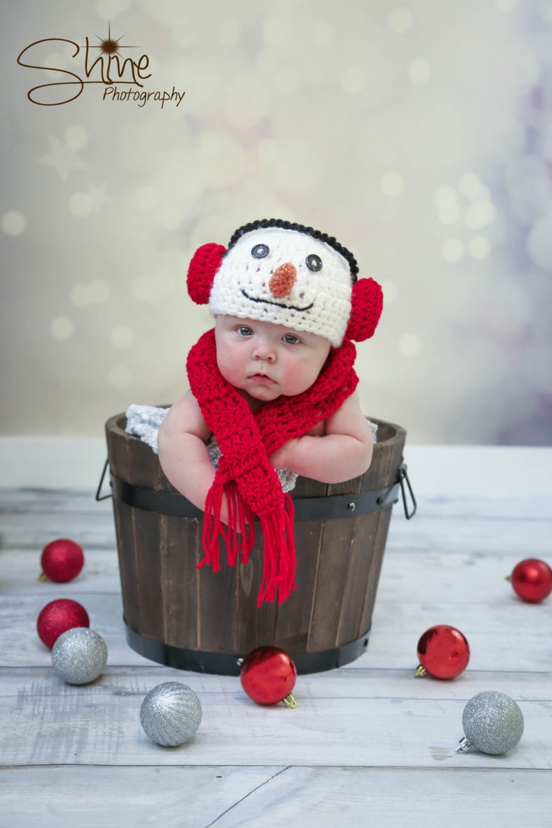 Crochet Snowman Hat and Scarf Newborn Baby Snowman Hat and image 0