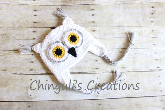 Crochet Owl Hat Baby Owl Hat Kids Owl Hat White Owl hat White  56ec561a846