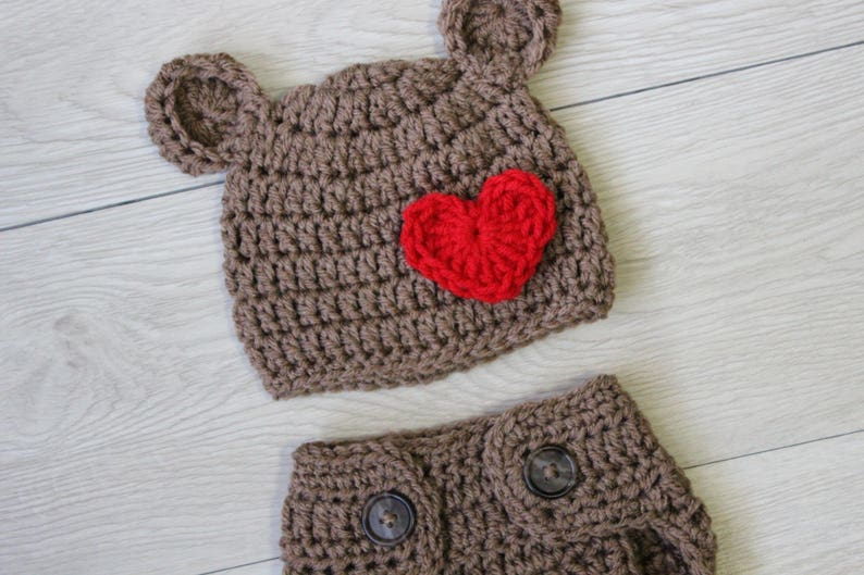 Valentine's Crochet Bear Hat Diaper Cover Brown Bear Hat image 0