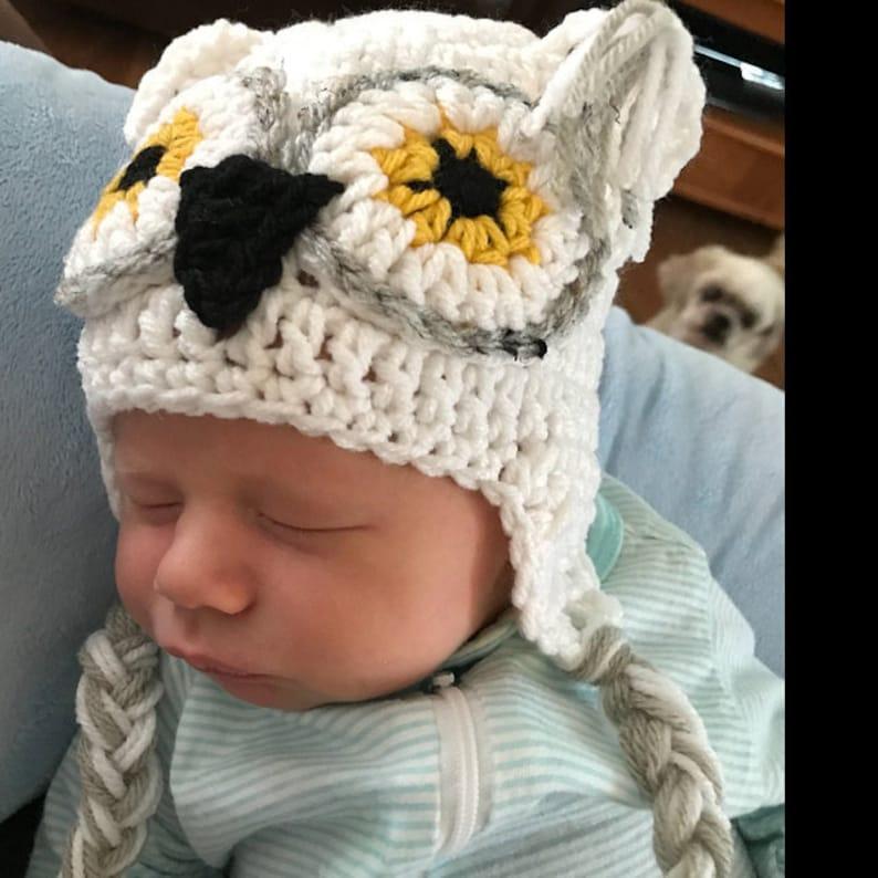 Crochet Owl Hat Baby Owl Hat Kids Owl Hat White Owl hat White image 0