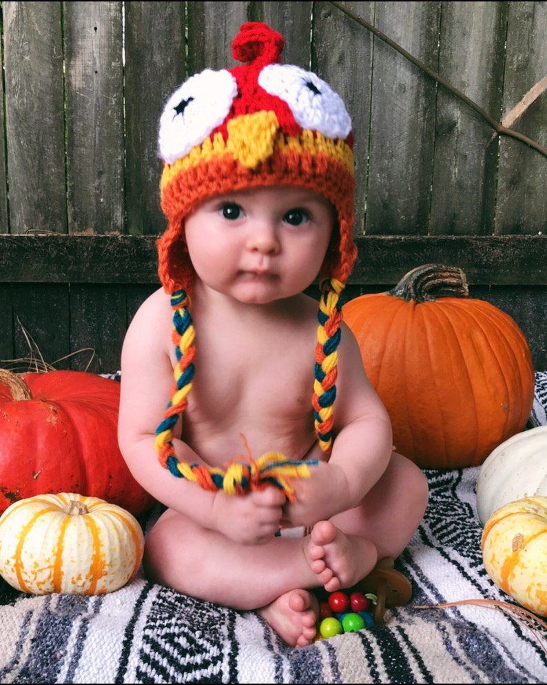 Baby Crochet Rooster Hat Multi-color Rooster Hat image 0