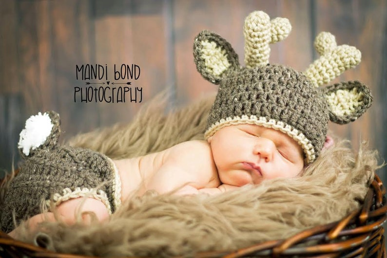 Baby Deer Hat with Diaper Cover Crochet Deer hat and Diaper image 0