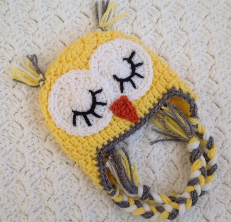 987fd02b67e Crochet Owl Hat Baby Yellow Owl Beanie Sleepy Owl Hat Easter