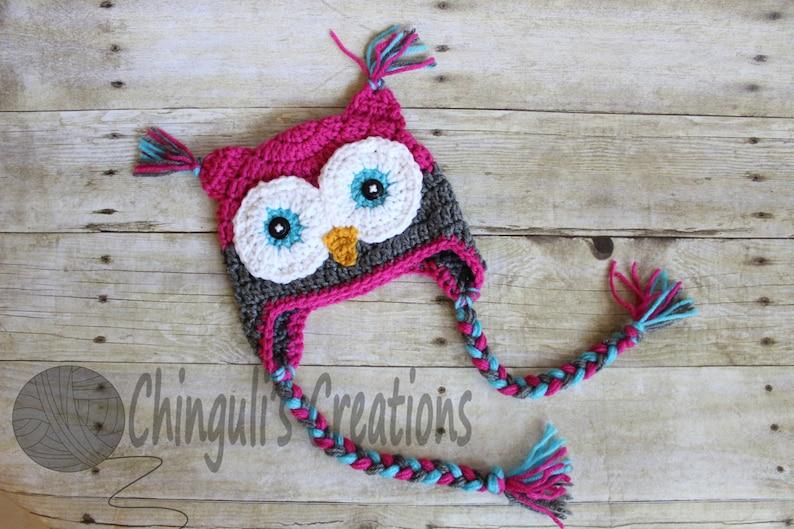 Crochet Owl Hat Baby Hot Pink Gray Owl Beanie Girls Owl Hot image 0