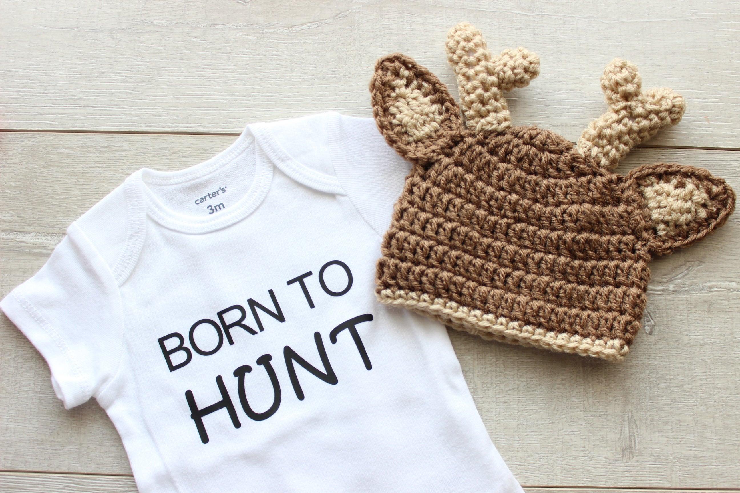 713e96dd98c Born to Hunt Bodysuit and Deer Crochet Hat Little Hunter