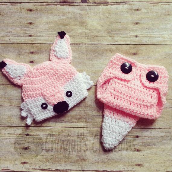 Crochet Fox Outfit Baby Girl Fox Hat and Diaper Cover newborn  5d6d702842c