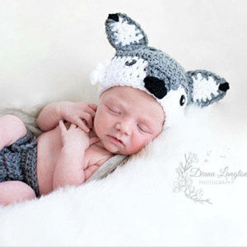 Crochet Wolf Outfit Baby Girl Baby Boy Wolf Hat and Diaper image 0