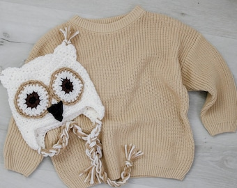 Chunky Sweater and Crochet Owl Hat Baby Knit sweater baby owl hat