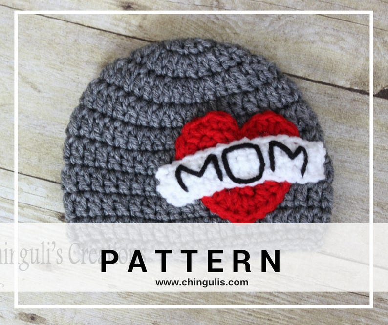 PATTERN Crochet I Heart MOM Tattoo Beanie Baby Toddler image 0