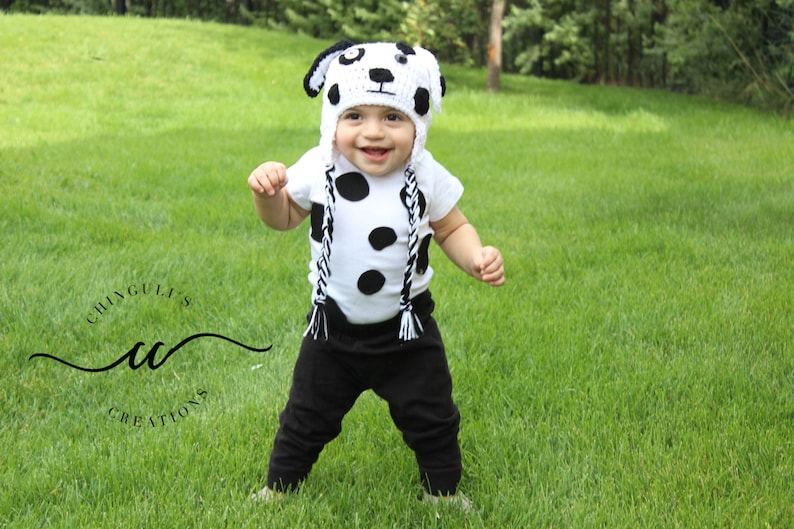 Crochet Baby Dalmatian Dog Hat Spotty White and Black Dog Hat image 0