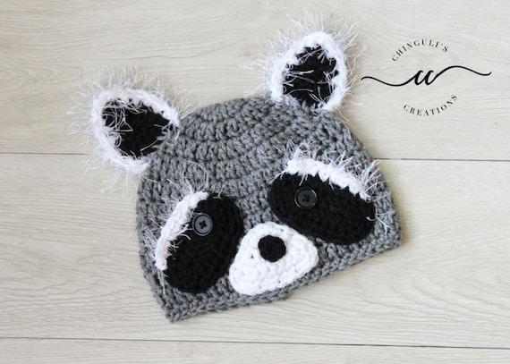 Crochet Baby Raccoon Hat Gray Raccoon Beanie Crochet hats Baby  44edbedb194