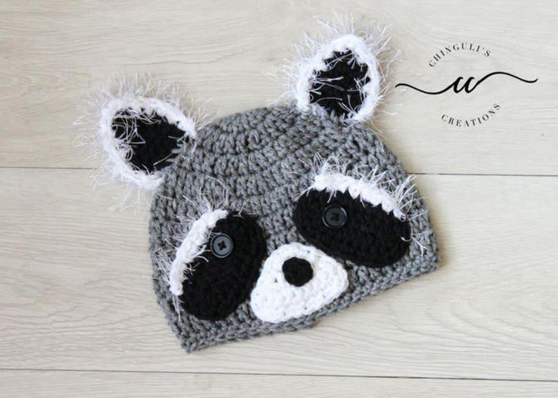 Crochet Baby Raccoon Hat Gray Raccoon Beanie Crochet hats Baby image 0