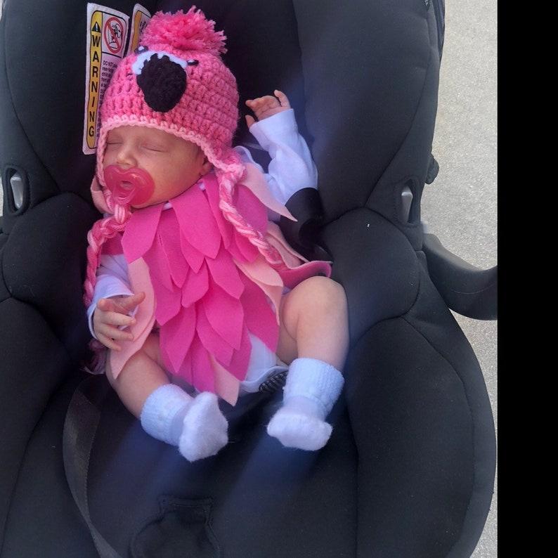 Baby Flamingo Costume Baby Flamingo Bodysuit and Crochet image 0