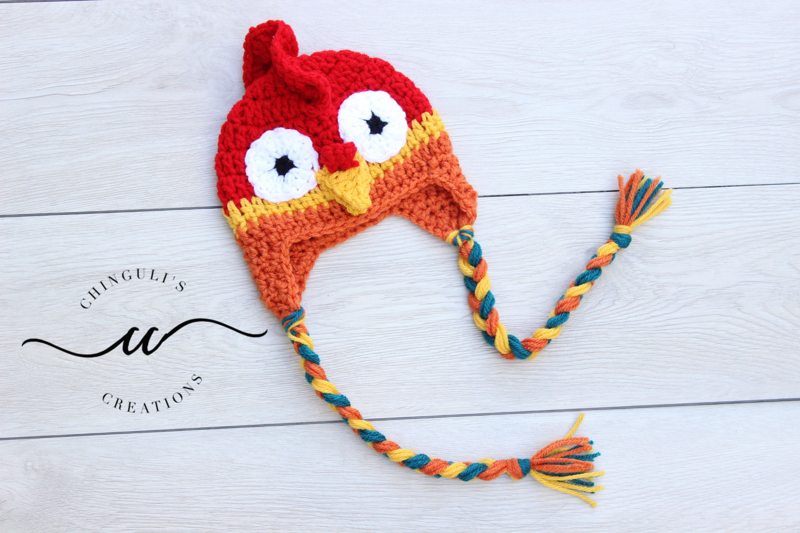 Baby Crochet Rooster Hat Multi Color Rooster Hat Etsy