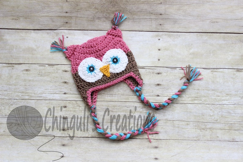 Crochet Owl Hat Pink and Brown with Blue Eyes Baby Owl hat image 0