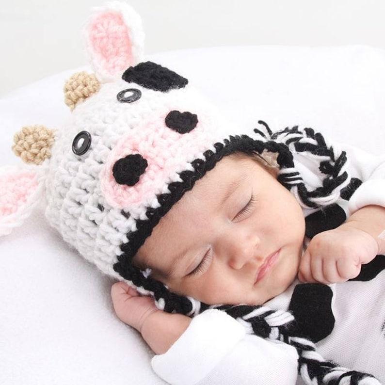 Baby Cow Crochet Hat Newborn Cow Hat Kids Cow Hat Halloween image 0