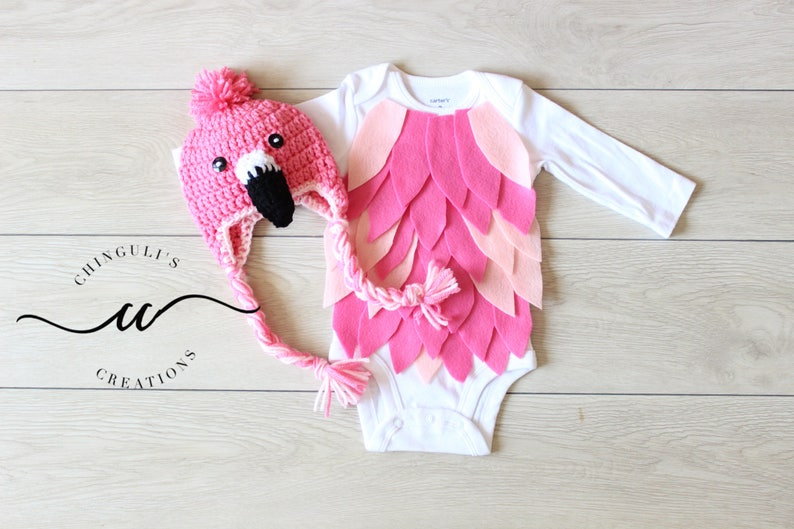 Baby Flamingo Costume Baby Flamingo Bodysuit and Crochet image 0