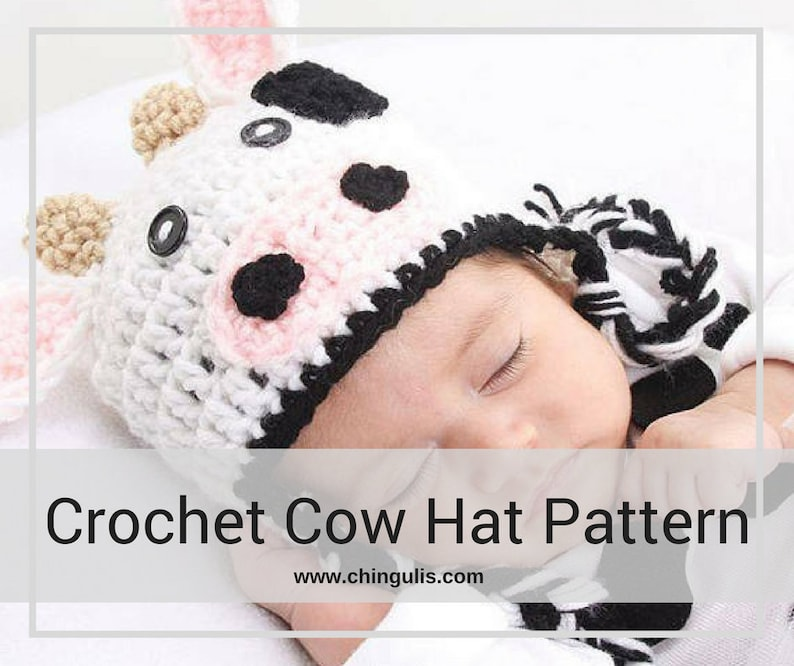c4f4ea8a46a PATTERN Crochet Cow Hat Pattern Newborn to Child Size Crochet