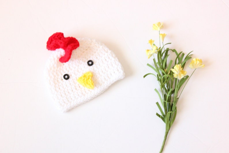 Crochet Rooster Hat Baby White Rooster Hat Baby Crochet image 0