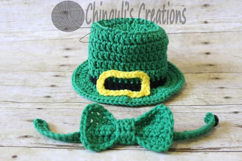Crochet Leprechaun Hat Baby Irish Hat Bow Tie Baby Saint  a29a073645a