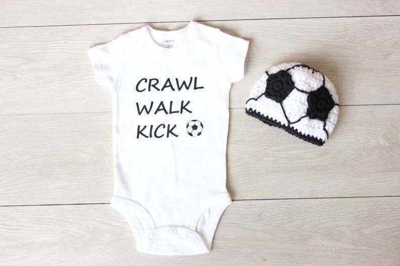 Soccer Boy's Crochet Beanie Hat and Bodysuit Crawl Walk image 0