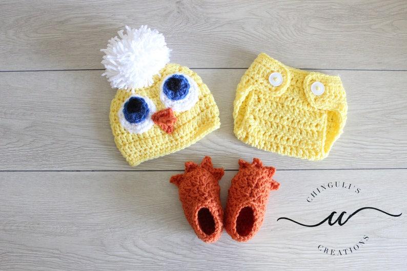 Baby Crochet Chicken Outfit Newborn Chicken Hat Diaper Cover Etsy