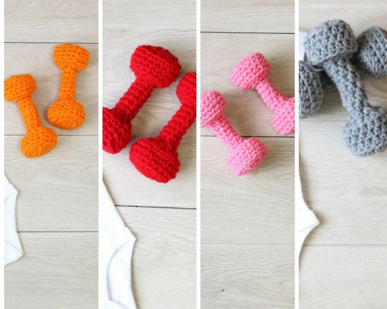 Baby Crochet Dumbbell Toys Gym Baby Dumbbells Toys Crochet image 0