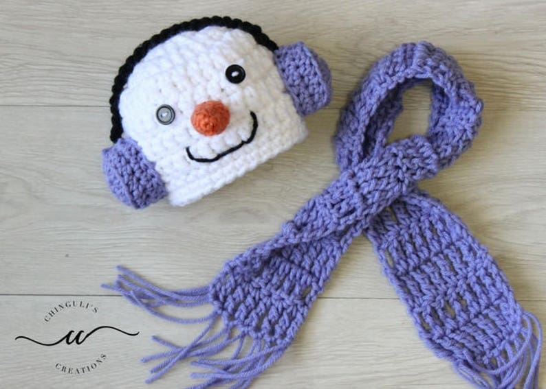 499b4a8c7 Crochet Snowman Hat and Scarf Baby Snowman Hat with Earmuffs and Scarf set  Christmas Winter Snowman Hat and Scarf Photo Props