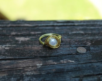 wrapped pearl ring with gold wire / free US shipping