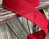 10 Yards, Wired Ribbon, Red Burlap