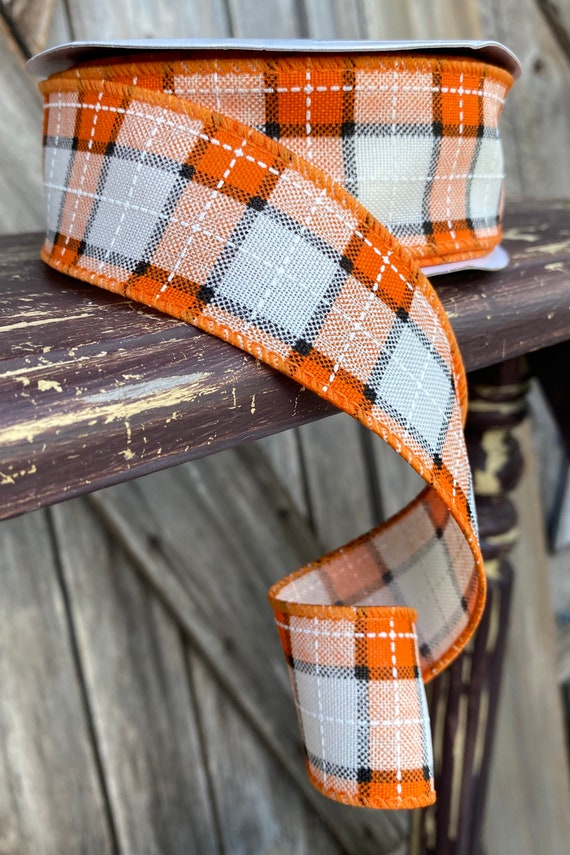 20 Yards, Wired Ribbon, Fall Stitch Plaid Threading